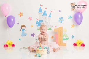 Princess Castle themed cake smash and splash photoshoot Photographer Carmarthenshire
