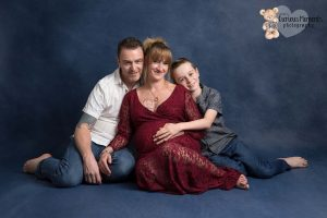 pregnant mummy photoshoot in a studio with husband and son by Maternity Photographer Carmarthen