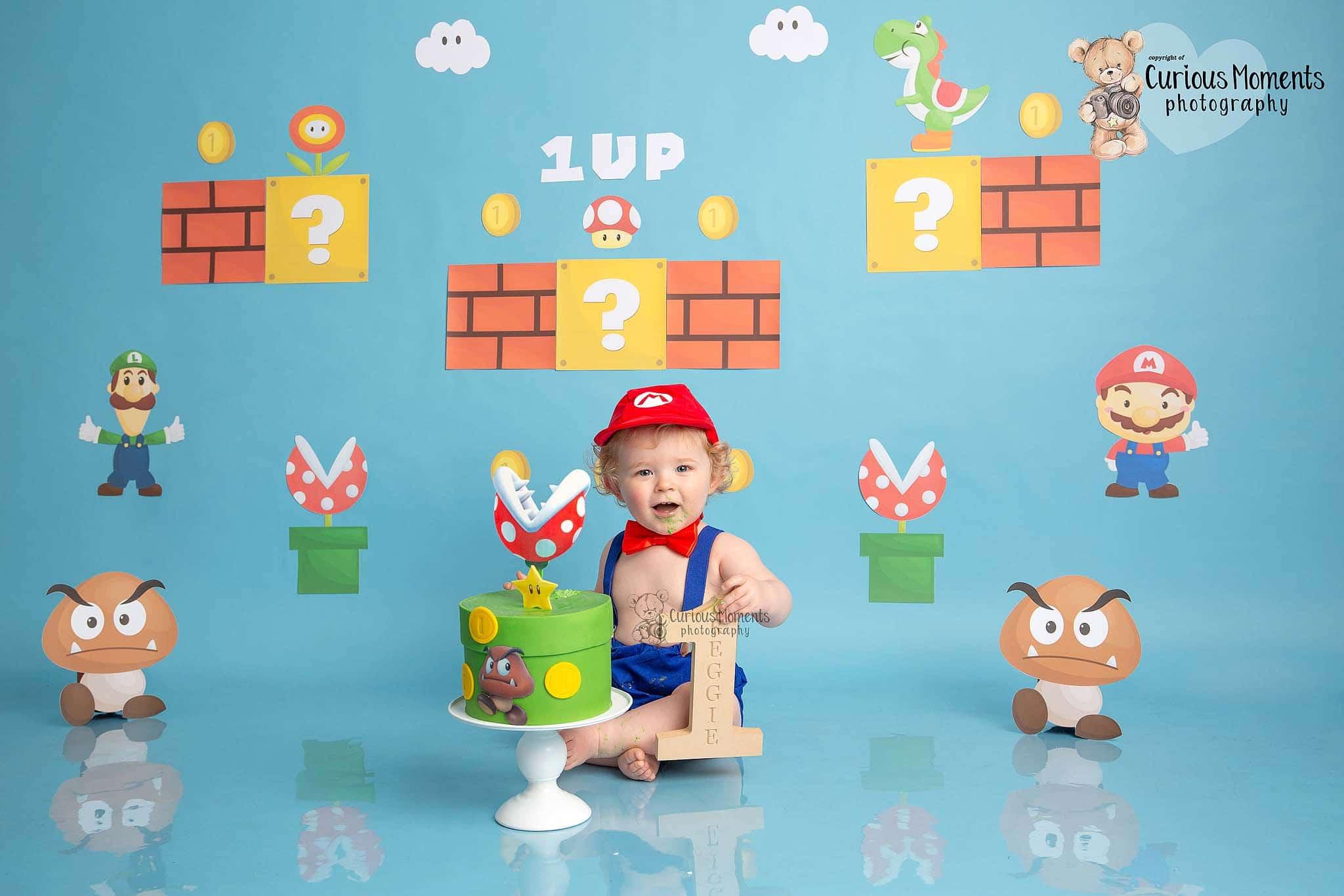 Retro game and Mario inspired cake smash for baby boys' 1st birthday cake smash