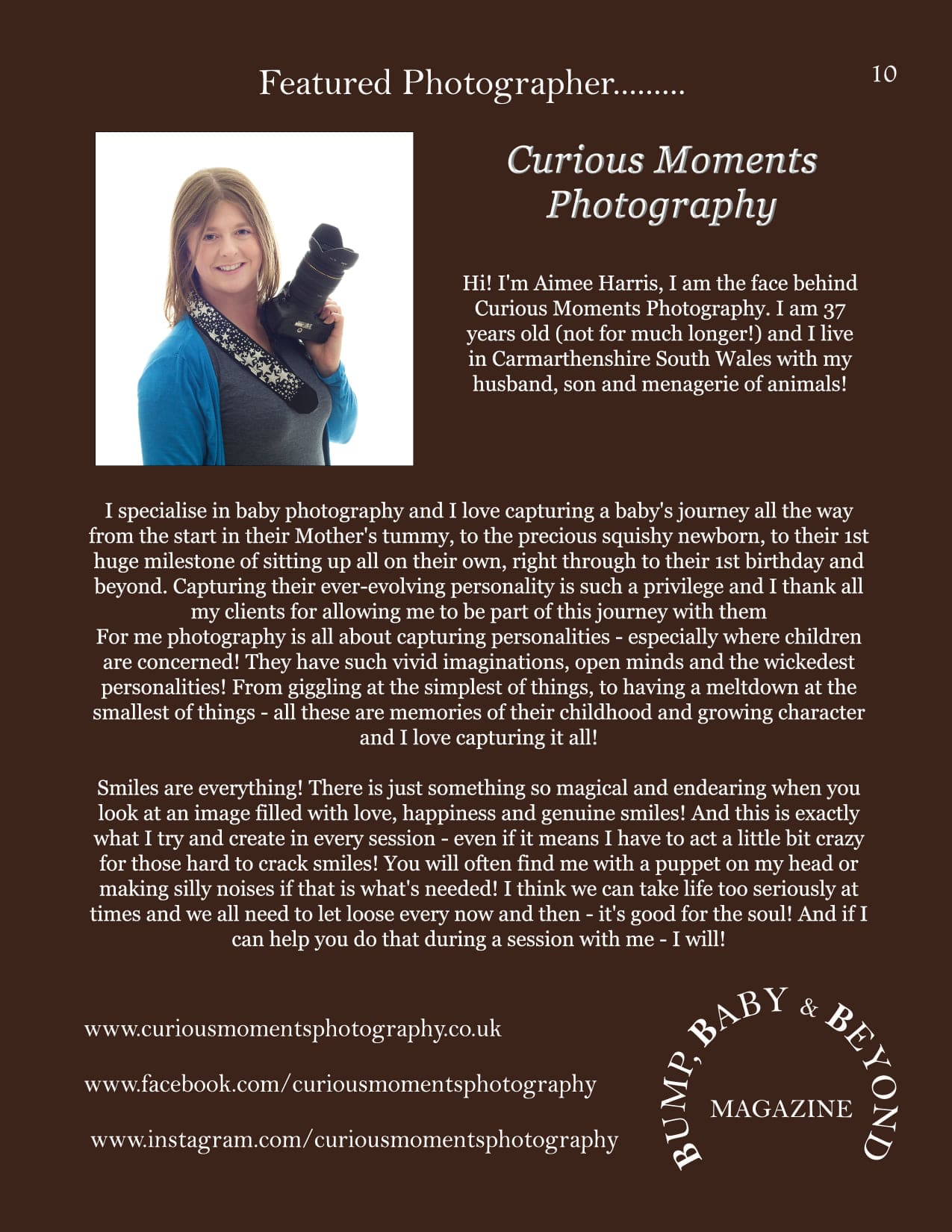 featured article of carmarthen photographer in international magazine