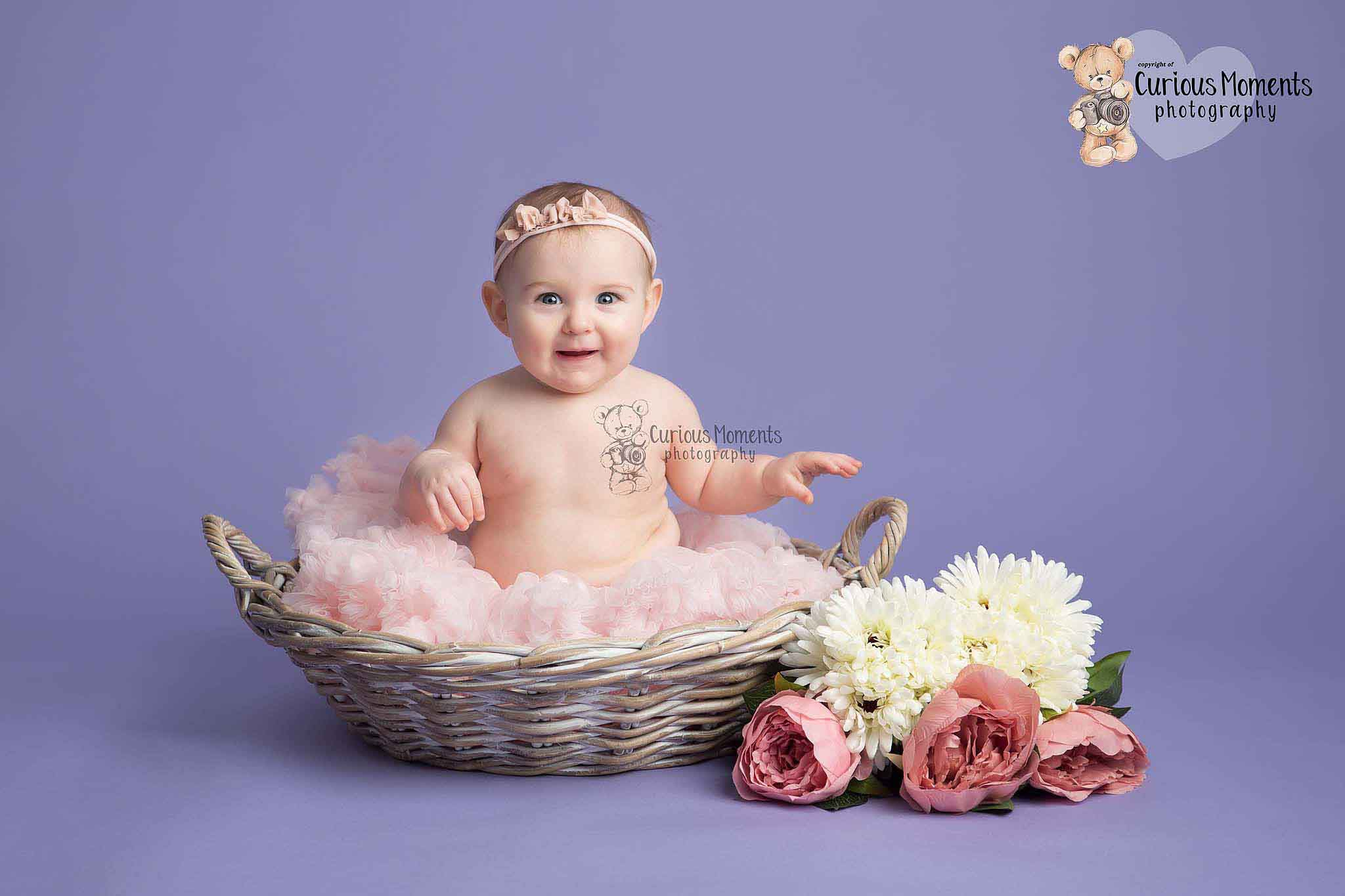 Happy baby girl sat in a basket wearing a pink tutu on a purple background during baby photography session with Pembrokeshire baby photographer