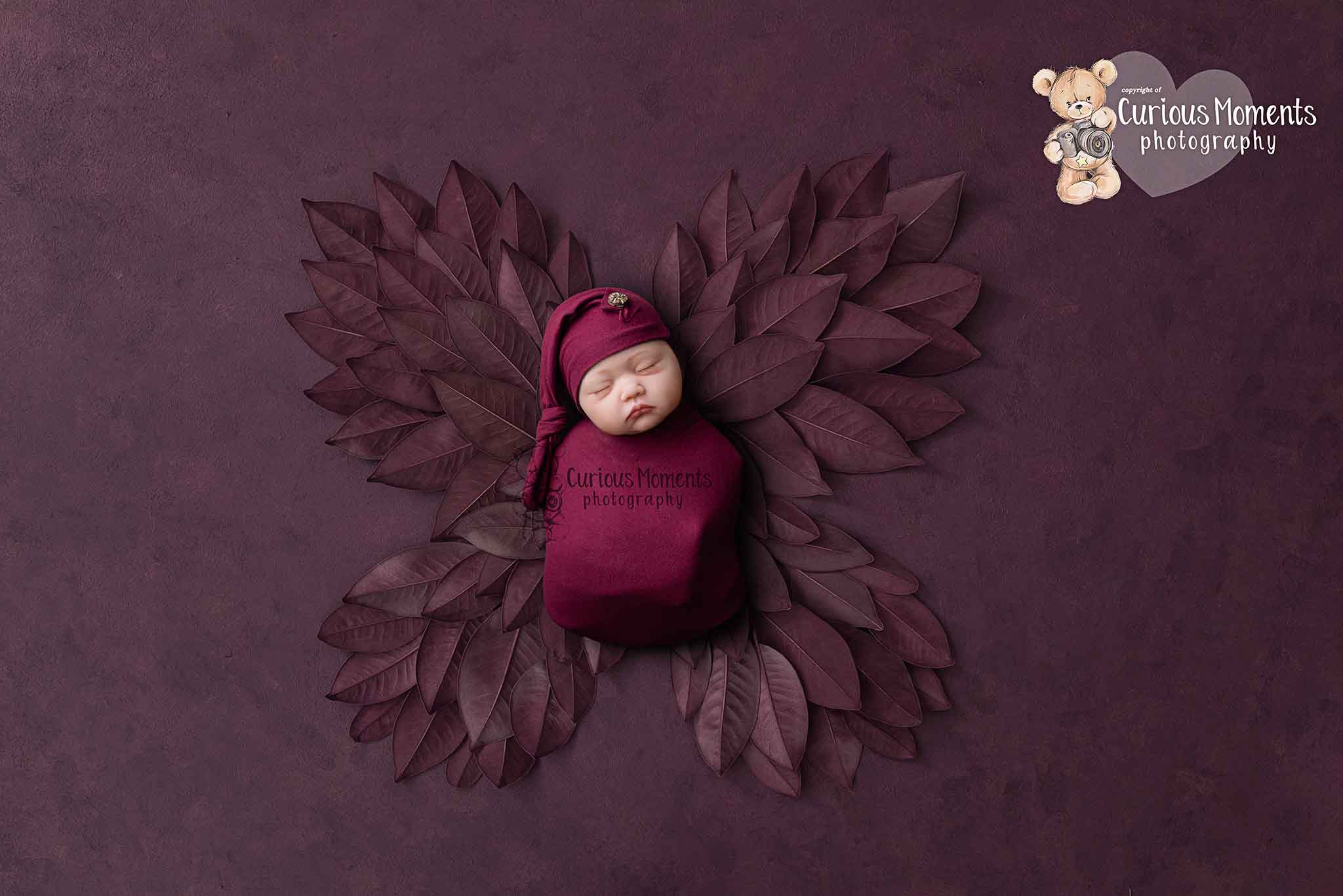 Baby girl in plum coloured sleepy hat and wrap with leaves shaped as a butterfly by baby photographer Carmarthen