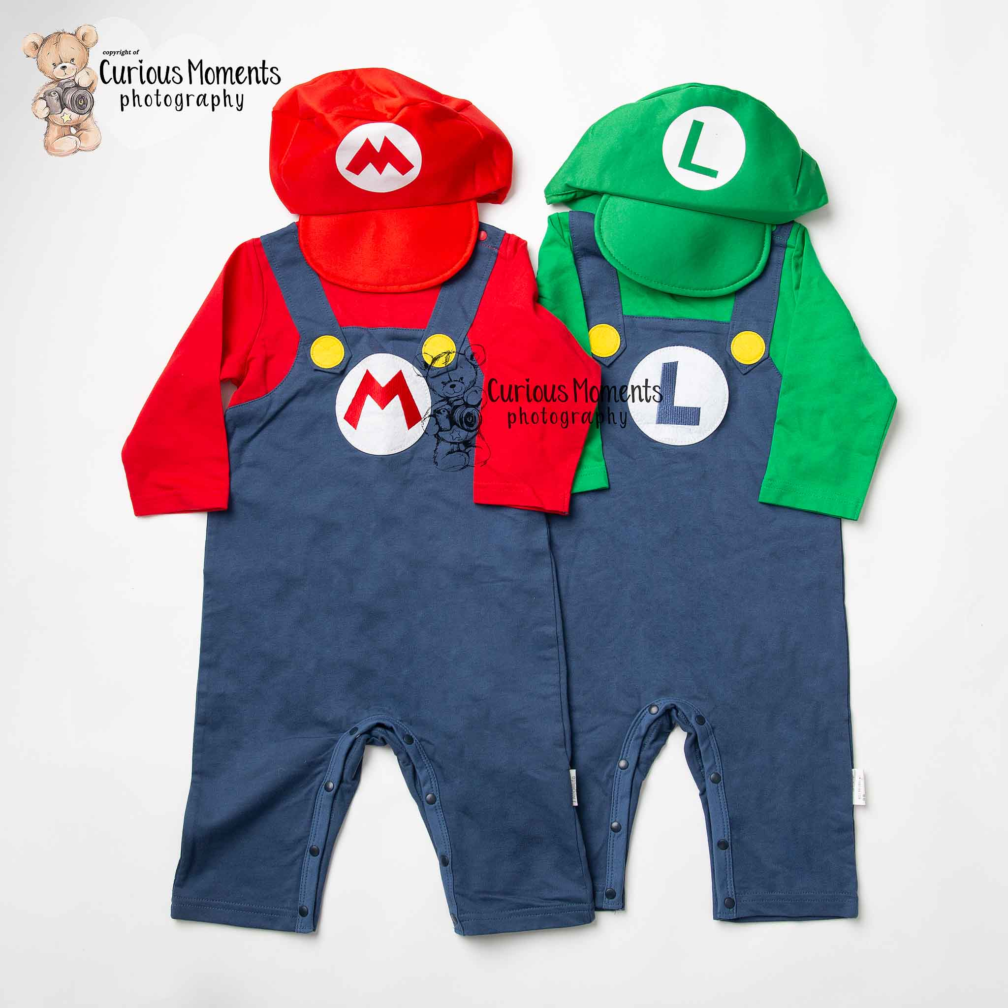 Mario and Luigi outfits for themed cake smash in Carmarthenshire