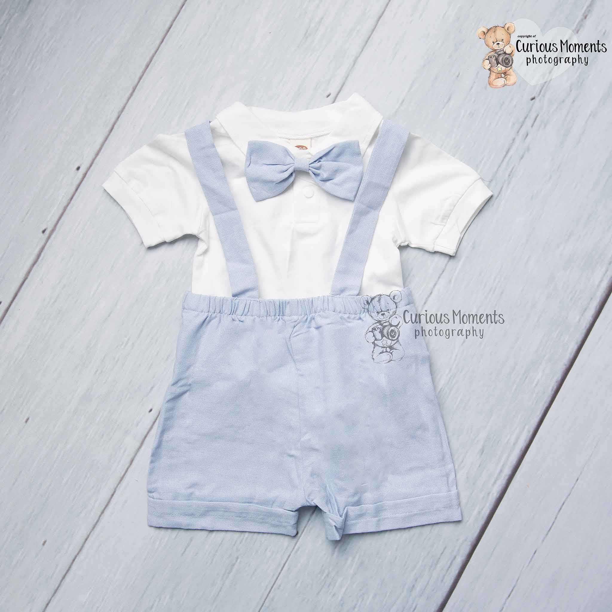 Blue and white gentlemans suit for cake smash ammanford